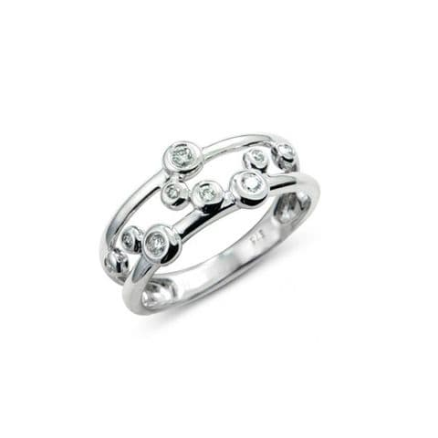 White gold and diamond bubble ring