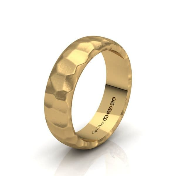 Yellow Gold Hammered Wedding Ring