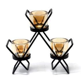 Iron Votive Candle Holder - 3 Cup Triangle