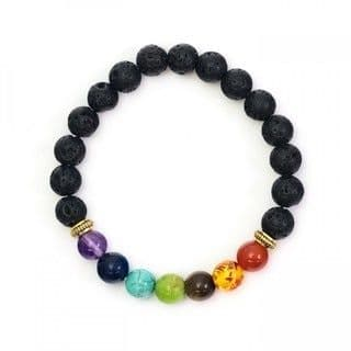 Lava Stone and coloured bead bracelet
