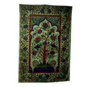 Tree of Life Green Cotton Bedspread / Wall Hanging