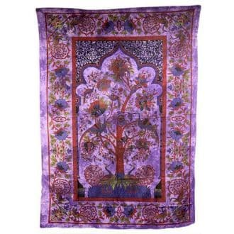 Tree of Life Purple Cotton Bedspread / Wall Hanging