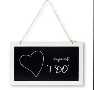 'I DO' wooden blackboard