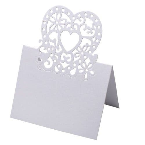 Heart laser place cards