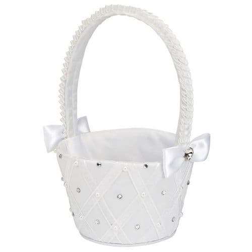 Satin Flower Girl basket with diamantes and bows