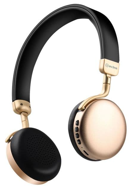 AV:Link NEO: Metallic Bluetooth Headphones Gold