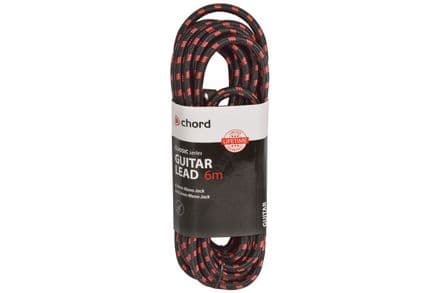 Chord Classic Retro Braided 6M Right Angled Guitar Lead Black/Red