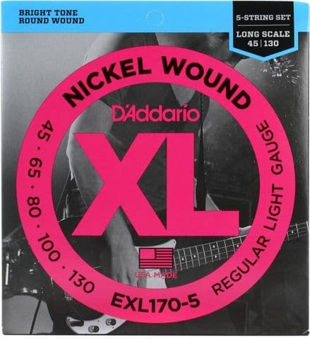 D'Addario EXL170-5 Nickel Wound 45-130 5-String Bass Guitar Strings