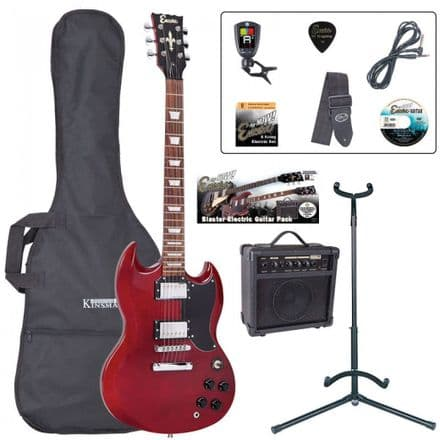 Encore E69 Electric Guitar Pack Cherry Red