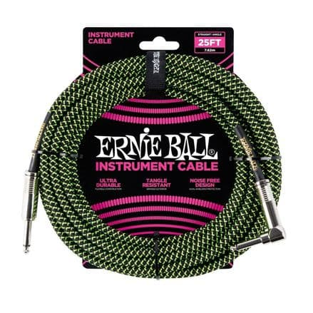 Ernie Ball 25ft Straight-Angle Braided Instrument Cable Black/Green