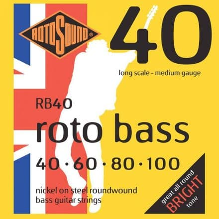 Rotosound RB40 Nickel Plated Steel 40-100 Bass Guitar Strings