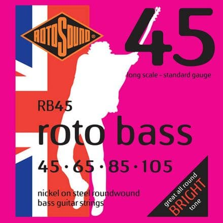 Rotosound RB45 Roto Bass Nickel on Steel Roundwound Bass Guitar Strings 45-105