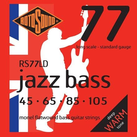 Rotosound RS77LD 4-String Jazz Bass Monel Flatwound 45-105 Bass Guitar Strings