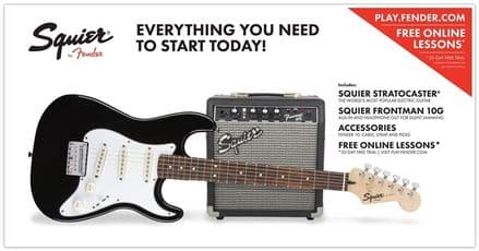 Squier Short Scale Stratocaster Pack - Black