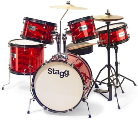 Stagg 5 Piece Tim Junior Drum Kit Red