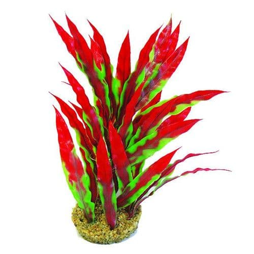 "Betta 10"" Green & Red Plastic Plant (PP355)"