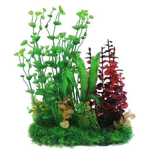 "Betta 13"" Green & Red Combi Plastic Plant (PP637)"
