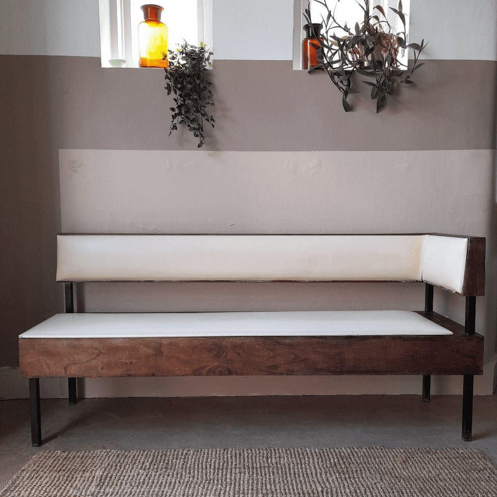 1960's Cream and Brown Bench