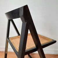 Black Wood and Cane Folding Chair