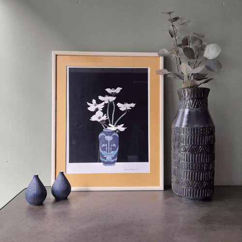 Blue Vase, White Flowers Print, 1980s