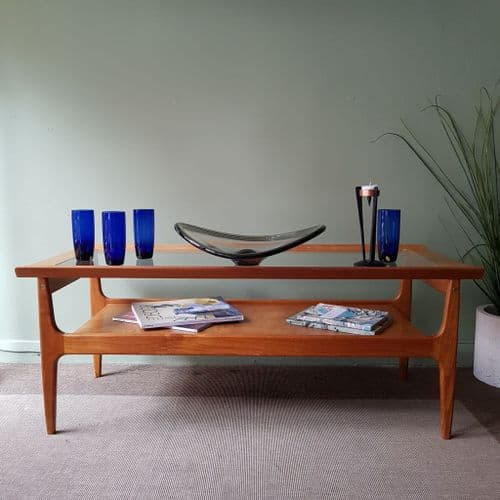 Glass Top Mid-Century Coffee Table