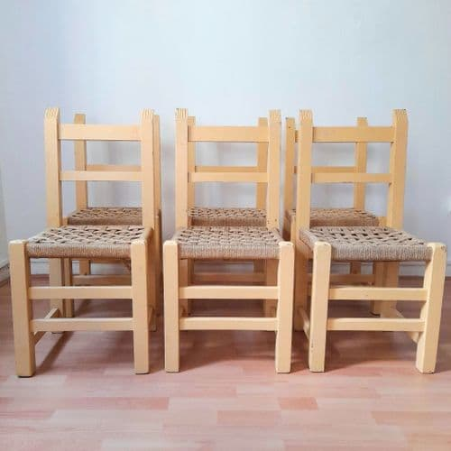 Six Painted Wood Seagrass Chairs