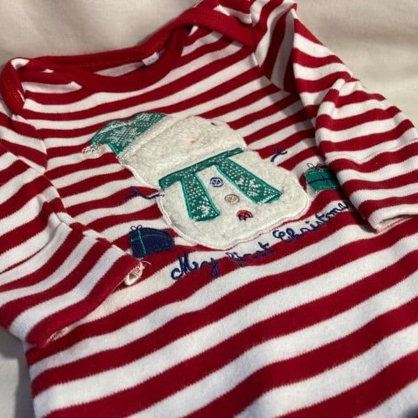 0-3 Month Red Striped Snowman Sleepsuit