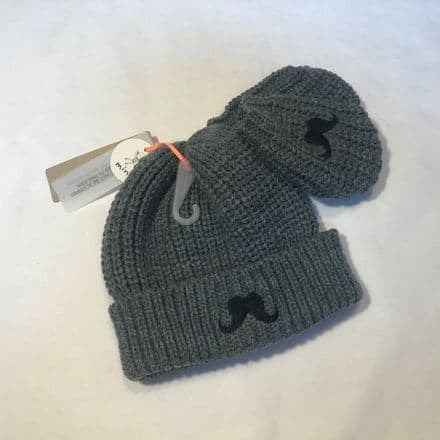 3-12 Month Grey Moustache Hat and Mitts