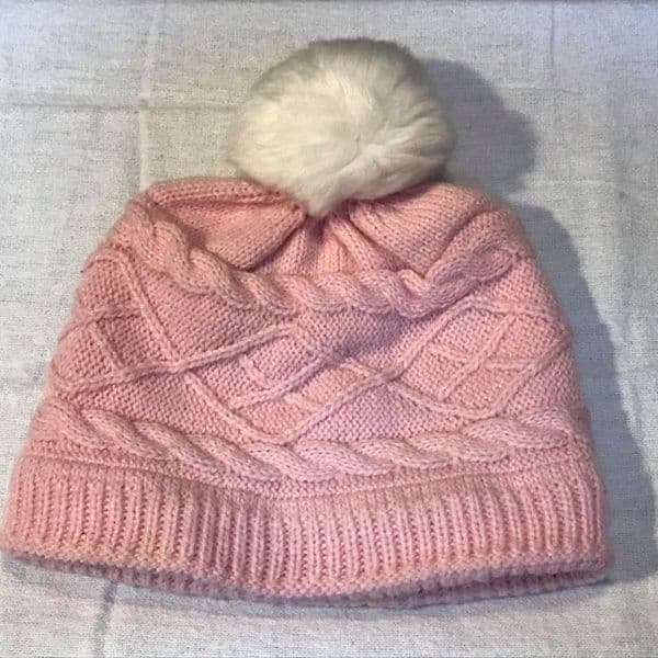 3-6 Month Lined Pink Bobble Hat