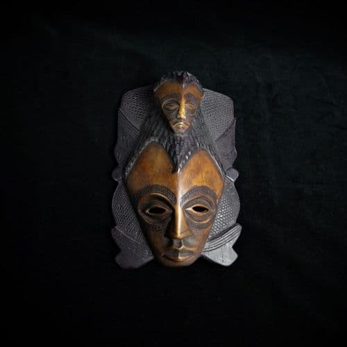 African Tribal Mask with Two Faces