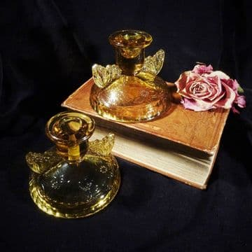 Art Deco Amber Glass Candlesticks