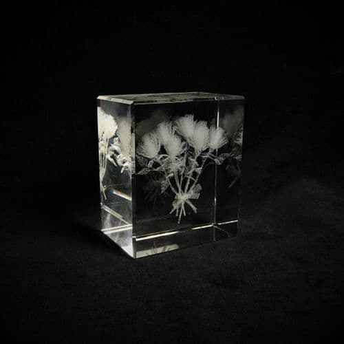 Bouquet of Roses Crystal Paperweight