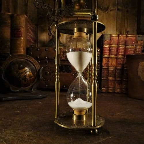 Brass Sand Timer Hourglass Depicting Time