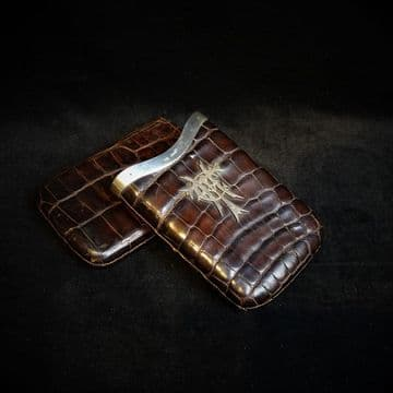 Crocodile Skin and Silver Cigar Holder