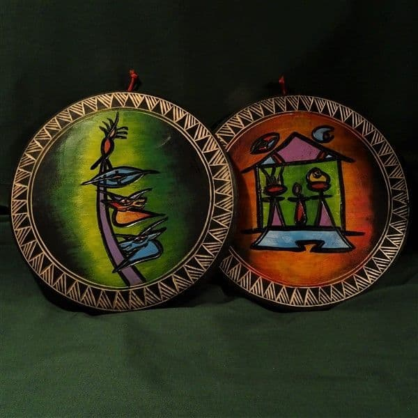 Pair of Colourful Abstract Plaques