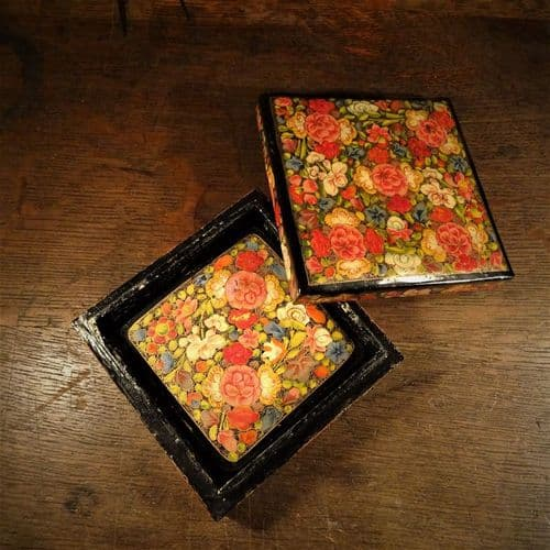 Papier Mache Hand Painted Box with Coasters