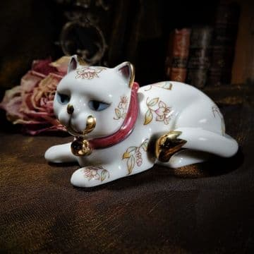 Small Porcelain Cat Decorated with Butterflies