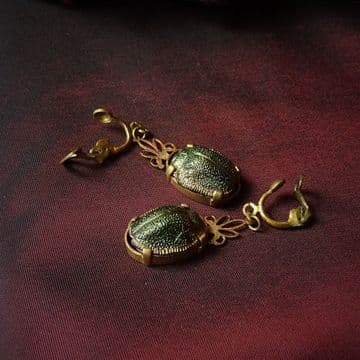 Victorian Scarab Beetle Drop Earrings