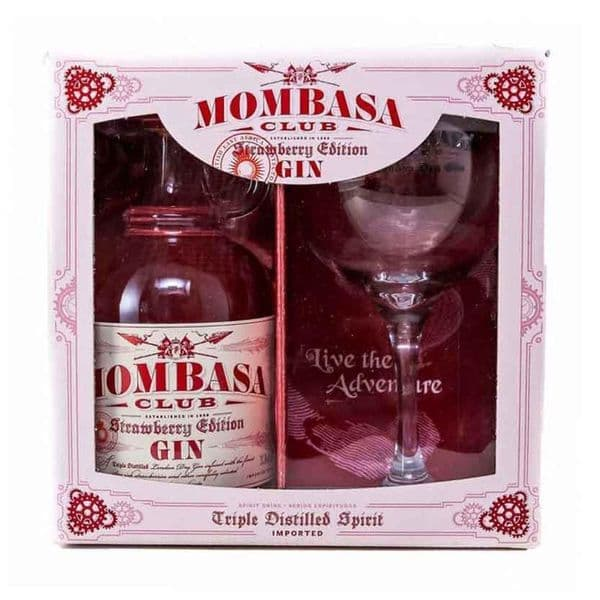 Mombasa Club Strawberry Edition Gin Gift Set 70cl