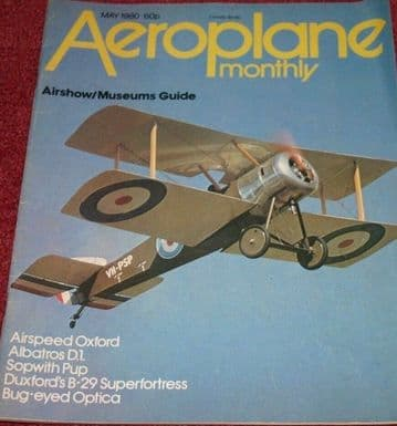 Aeroplane Monthly Magazine 1980 May Airspeed Oxford,Edgley Optica,Sopwith Pup