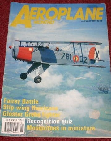 Aeroplane Monthly Magazine 1991 January Gloster Glebe,Fairey Battle,Mosquito