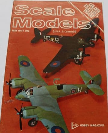 Scale Models Magazine 1974 May Sopwith Camel,Bristol Beaufighter
