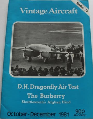 Vintage Aircraft Magazine Issue 22 DH88 Comet,Hawker Hind,DH90 Dragonfly