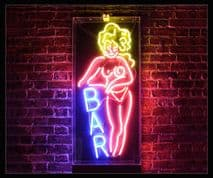 Bar and Woman Neon Sign