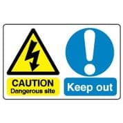 Multiple safety sign - Dangerous Site 005