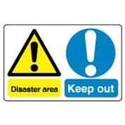 Multiple safety sign - Disaster Area Keep 006
