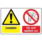 Multiple safety sign - Do Not Switch On 008