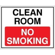 No Smoking safety sign - Clean Room No 001