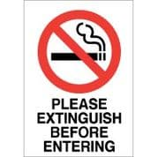 No Smoking safety sign - Please Extinguish 028