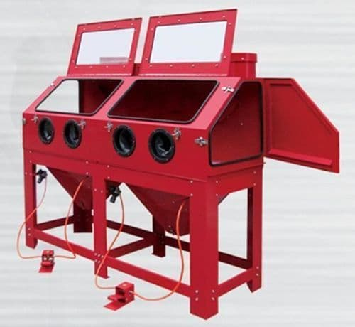 Blasting Cabinet with Twin Front Work Stations for longer Parts DSBC880 extra Wide